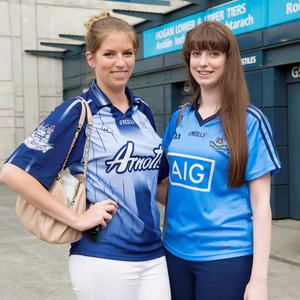 12/07/2015. Pictured are (LtoR) Ivona Ni Luain from Rathcoole and Karen Nic Aoidh from Lucan after Dublin beat Westmeath in the Leinster football final at Croke Park. Photo: El Keegan