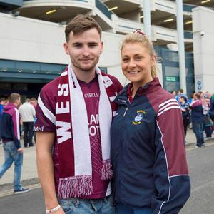 12/07/2015. Pictured are (LtoR) Eoin Nugent from Rochfortbridge and Niamh Murphy from Mullingar after Dublin beat Westmeath in the Leinster football final at Croke Park. Photo: El Keegan