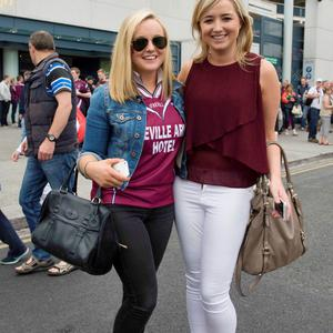 12/07/2015. Pictured are (LtoR) Aoife McDermott, 25 and Roisin McDermott, 23 from Fore, Westmeath after Dublin beat Westmeath in the Leinster football final at Croke Park. Photo: El Keegan