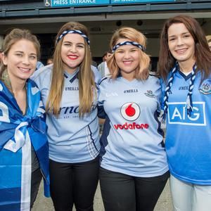 Sunday 12 July 2015. Croke Park. Leinster FInal, Dublin v Westmeath. Jade Kavanagh (24) Maomi Clifford (22) Tanya Clifford (23) and Ruth Lavelle (23) Lucan.