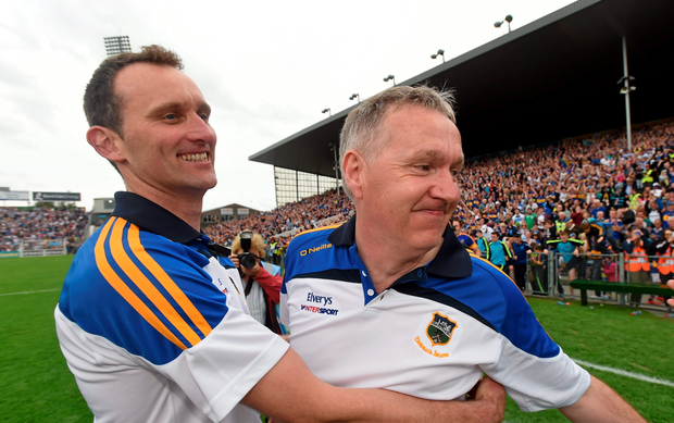Tipperary manager Eamonn O'Shea and selector Declan Fanning celebrate at the final whistle