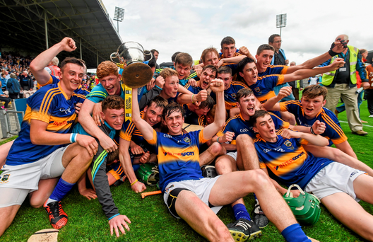 Tipperary players celebrate after winning the Munster MHC final
