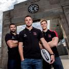 Jared Payne, Tommy Bowe and Andrew Trimble at the announcement of BT's new four-year partnership deal with Ulster Rugby