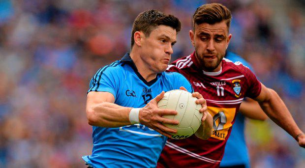 Diarmuid Connolly, Dublin, in action against Paul Sharry, Westmeath. Leinster GAA Football Senior Championship Final, Westmeath v Dublin, Croke Park, Dublin. Picture credit: Brendan Moran / SPORTSFILE