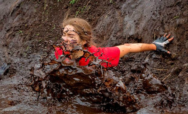 Pictured is Roz Purcell after battling it through the gruelling obstacles at the Tough Mudder event which takes place over the weekend in Loughcrew Adventure Centre, Co. Meath
