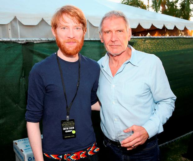 Actors Domhnall Gleeson (L), Harrison Ford and more than 6000 fans enjoyed a surprise