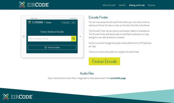 Home owners and business can get their new Eircode address online