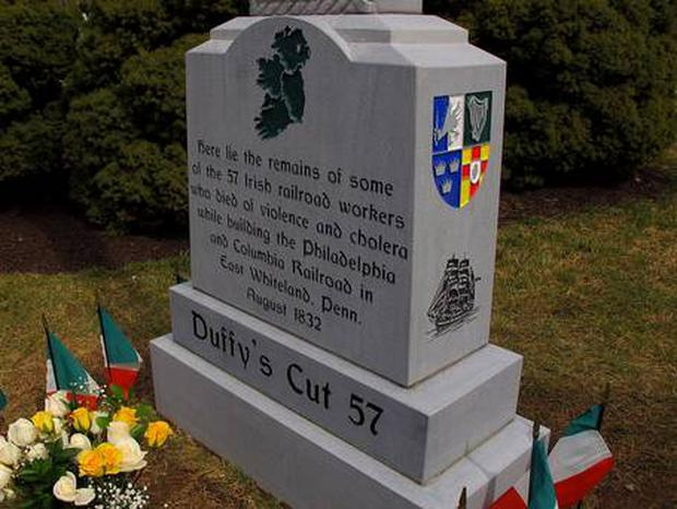 Memorial to victims at Duffy's Cut in the US Pic: Belfast Telegraph
