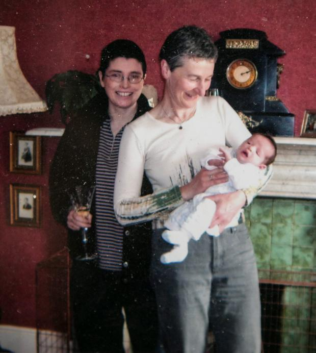 Barbara Gill, right, with her partner Ruth, left, and their baby son Stephen.
