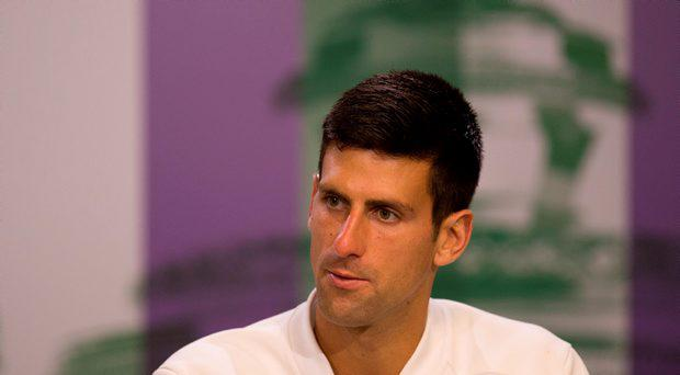 2015 Wimbledon Champion Novak Djokovic during a press conference following the Men's Singles Final at the All England Lawn Tennis and Croquet Club, Wimbledon