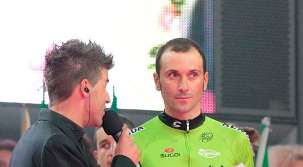 Cannondale's Ivan Basso is interviewed