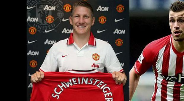 Manchester United's new signings Bastian Schweinsteiger and Morgan Schneiderlin.