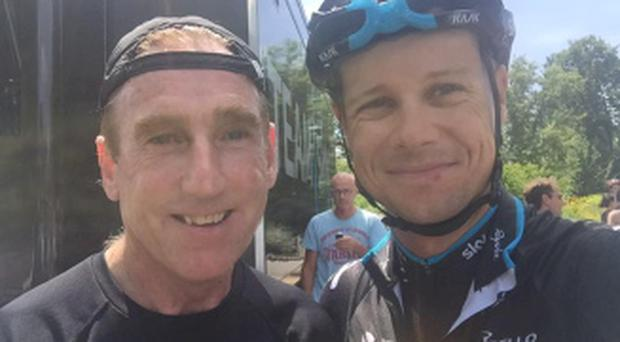 Nicolas Roche with his godfather Sean Kelly in Pau yesterday