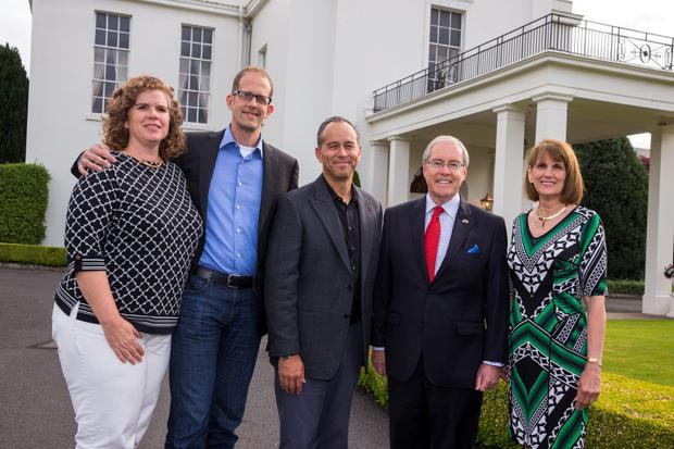 U.S. Ambassador to Ireland Kevin O'Malley and wife Dina with Pixar's Pete Docter and wife Amanda (left) and Jonas Rivera in partnership with The Walt Disney Companyat the Creative Minds Event in the Ambassador's Residence, Phoenix Park, Dublin. Picture:Arthur Carron