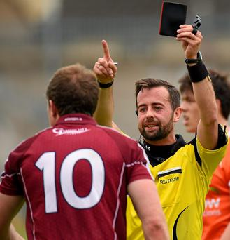 Galway's Gary Sice is shown a black card in the final minutes of Sunday's game against Armagh SPORTSFILE