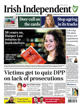 Today's front page of the Irish Independent