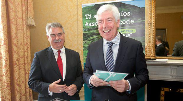 13/07/2015 (L to r) Liam Duggan Business Development Officer Eircode & Minister of Communications, Energy & Natural Resources Alex White TD during the launch of the new Eircode system at the Shelbourne Hotel, Dublin