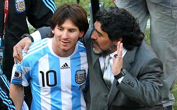 Lionel Messi and Diego Maradona