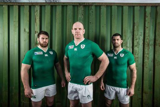 Sean O'Brien, Paul O'Connell and Rob Kearney display the official 2015 Rugby World Cup jersey