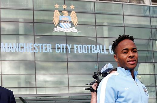 New Manchester City signing Raheem Sterling leaves the club's Etihad Stadium in Manchester