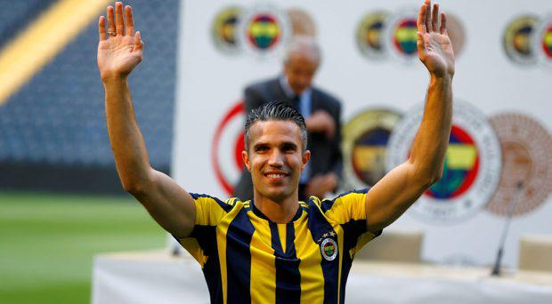 Robin van Persie greets supporters during his contract-signing ceremony with Turkish club Fenerbahce