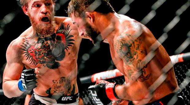 Conor McGregor on the offensive against Chad Mendes
