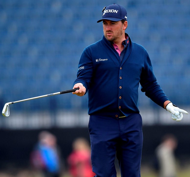 Graeme McDowell gestures on the 3rd green during a practice round on The Old Course at St Andrews yesterday