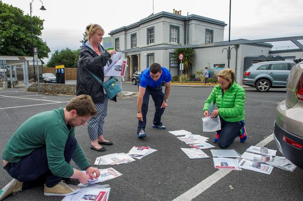 Breda Delaney search party gathers to prepare posters to distribute along the coast where they think Breda may Photo: Douglas O'Connor. Blackrock Dart Station.