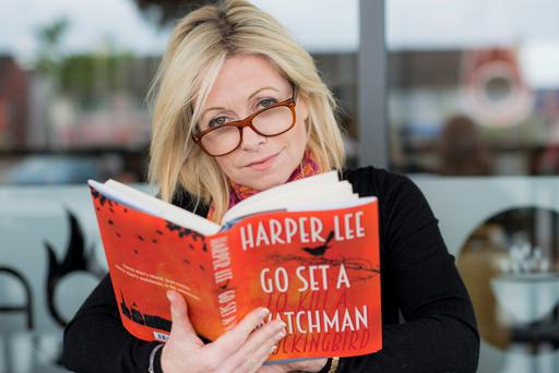 Best-selling writer Cathy Kelly with the new Harper Lee novel, 'Go Set a Watchhman'.