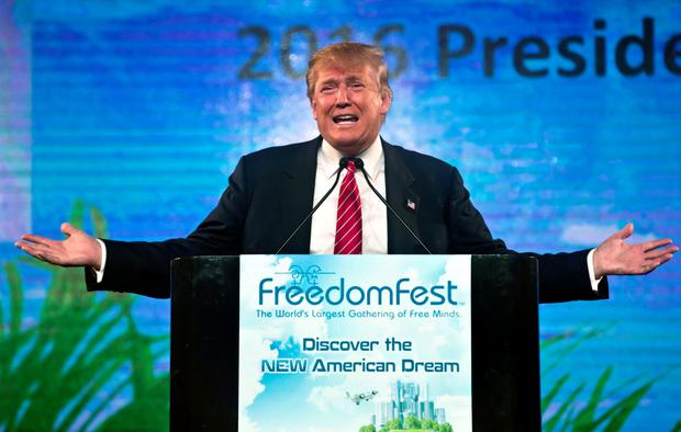 Republican Presidential candidate Donald Trump speaks at the 2015 FreedomFest in Las Vegas