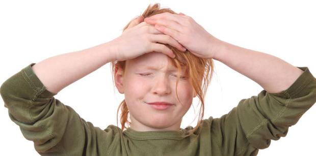 Nine-year-old girls are more stressed than boys. Picture posed. Stock image
