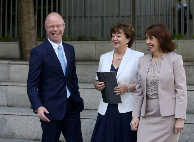 15/7/2015 New Political Venture called Social Democrats with L TO Stephen Donnelly with Catherine Murphy and Roisin Shortall at their launch in Wood Quay Venue, Civic Offices, Wood Quay, Dublin. Photo: RollingNews.ie