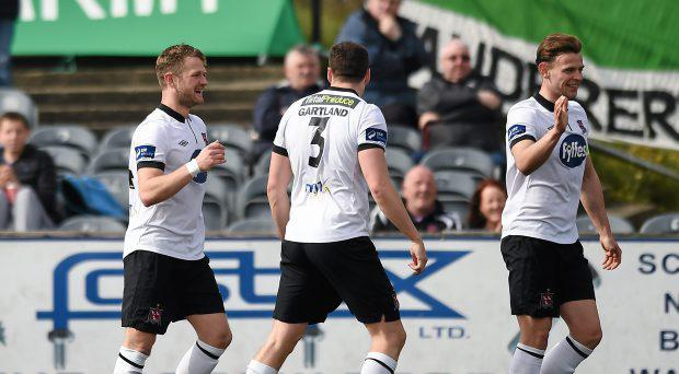 Andy Boyle, right, celebrates a goal for Dundalk