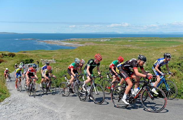 The riders make their way up the category one ascent of Castle Hill in county Clare during Stage 2 of the 2015 Junior Tour of Ireland. The stage was won by Nathan Pernot of NRPT-Magnet.ie while Gage Hecht still leads overall