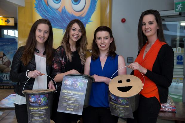 15/7/15 Vicky Carse, Hazel Curran, Shaunna Lee Lynch and Eavan Healy, Rathmines at a movie night fundraising event for Jack Halpin who was injured after falling from a balcony in Berkley, Calafornia, at the Omniplex cinema in Rathmines. Picture:Arthur Carron