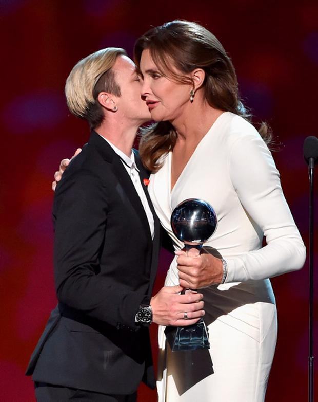 Honoree Caitlyn Jenner (R) accepts the Arthur Ashe Courage Award from former professional soccer player Abby Wambach onstage during The 2015 ESPYS at Microsoft Theater on July 15, 2015 in Los Angeles, California. (Photo by Kevin Winter/Getty Images)