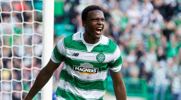Celtic's Dedryck Boyata celebrates scoring his side's first goal during the UEFA Champions League Second Qualifying Round, First Leg, at Celtic Park, Glasgow