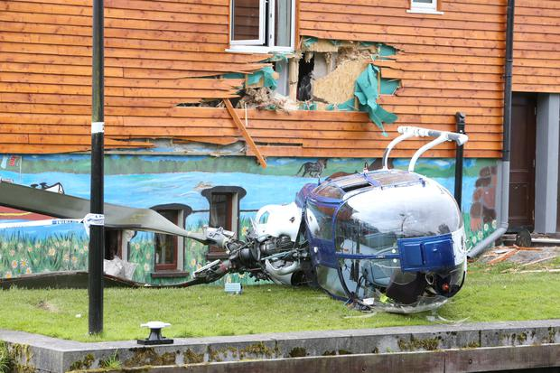 The scene of the helicopter crash in Abbeyshrule, Co Longford Pic: Steve Humphreys/Irish Independent