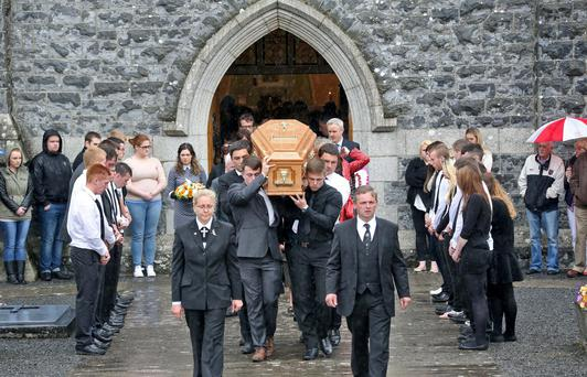 The remains are carried from church after the funeral of 20 year old Orla Curry, who was one of three people killed in a car crash last Sunday Picture Colin Keegan, Collins Dublin.