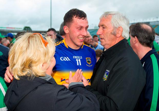 Barry O'Connell, Limerick, is congratulated by his parents Elaine Twomey and Barry O'Connell