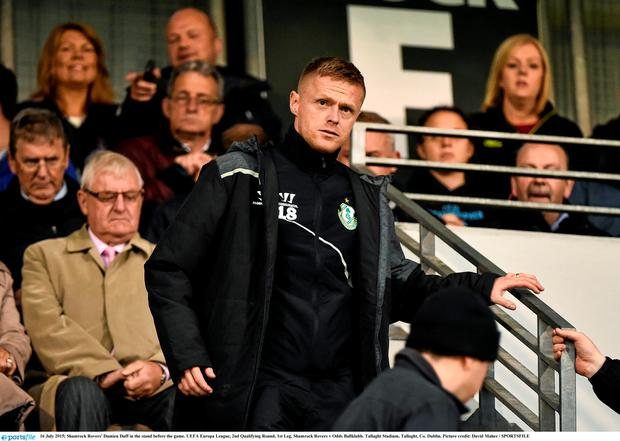Shamrock Rovers' Damien Duff in the stand before the game