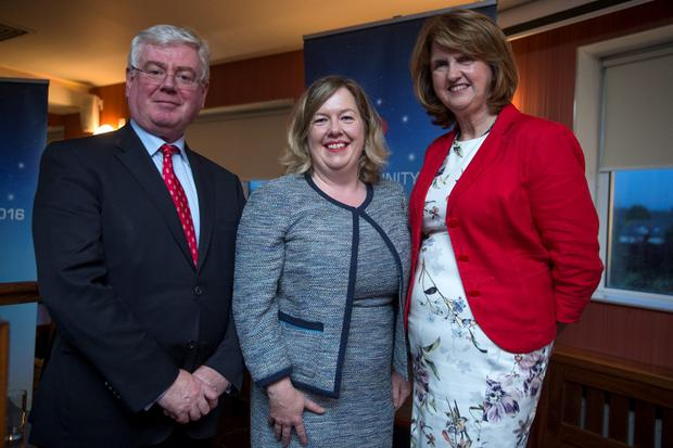 Cllr Carrie Smyth, Labours new election candidate for Dunlaoghaire, with Tainaiste Joan Burton and Eamon Gilmore TD at the Labour candidate selection vote in the Graduate pub in Sallynoggin. Picture:Arthur Carron