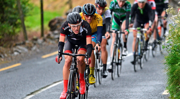Alexis Roche – brother of Nicolas – leads the peloton during Stage 3 of the Junior Tour of Ireland. NRPT-Magnet.ie team-mate Nathan Pernot won the stage while Gage Hecht remains the race leader (Stephen McMahon / Sportsfile)