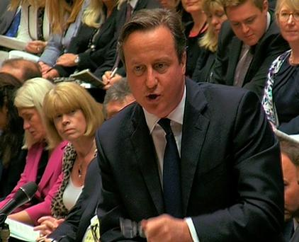 David Cameron speaks during Prime Minister's Questions in the House of Commons. Photo :PA