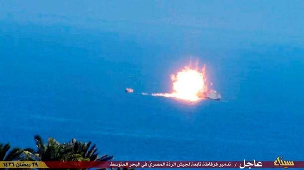 This image posted on Twitter by the Isil group shows a fireball rising from an Egyptian Navy vessel after the attack from the rocket. Photo: AP