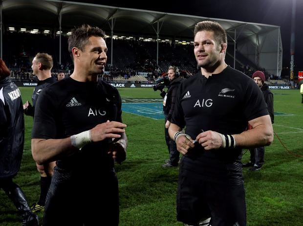 Richie McCaw and Dan Carter talk after beating Argentina in their Rugby Championship match at AMI Stadium in Christchurch