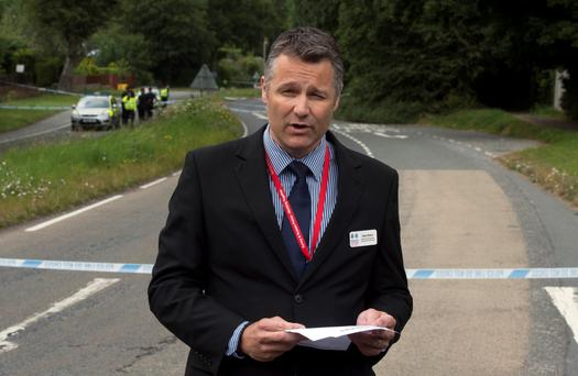 Detective Superintendent Adam Hibbert holds a press conference at the scene where pensioner Donald Lock was stabbed to death by another motorist in Findon, West Sussex, following a crash. Hannah McKay/PA Wire