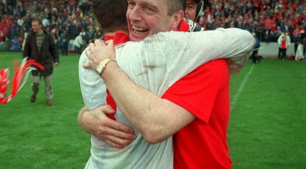 Larry Tompkins enjoyed success over Kerry as Cork manager, defeating the Kingdom in the 1999 Munster final which he celebrates with Kevin O'Dwyer