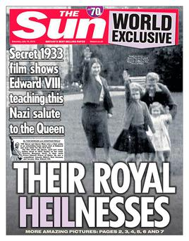 Handout photo taken from the Twitter feed of @TheSun of The Sun front page showing a still of footage from 1933 that shows a young Queen performing a Nazi salute with her family at Balmoral. Credit: TheSun/Twitter/PA Wire