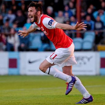Killian Brennan celebrates after scoring for St Patrick's Athletic
